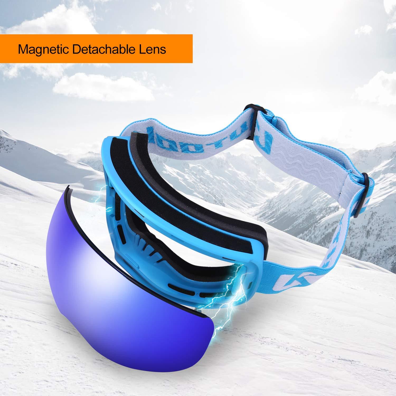 KUTOOK Maschera da Sci e Snowboard Occhiali da Sci OTG Antivento Anti Fog Protezione UV400 Ampio Angolo di Visione per Sci Motocross e Altri Sport Invernali