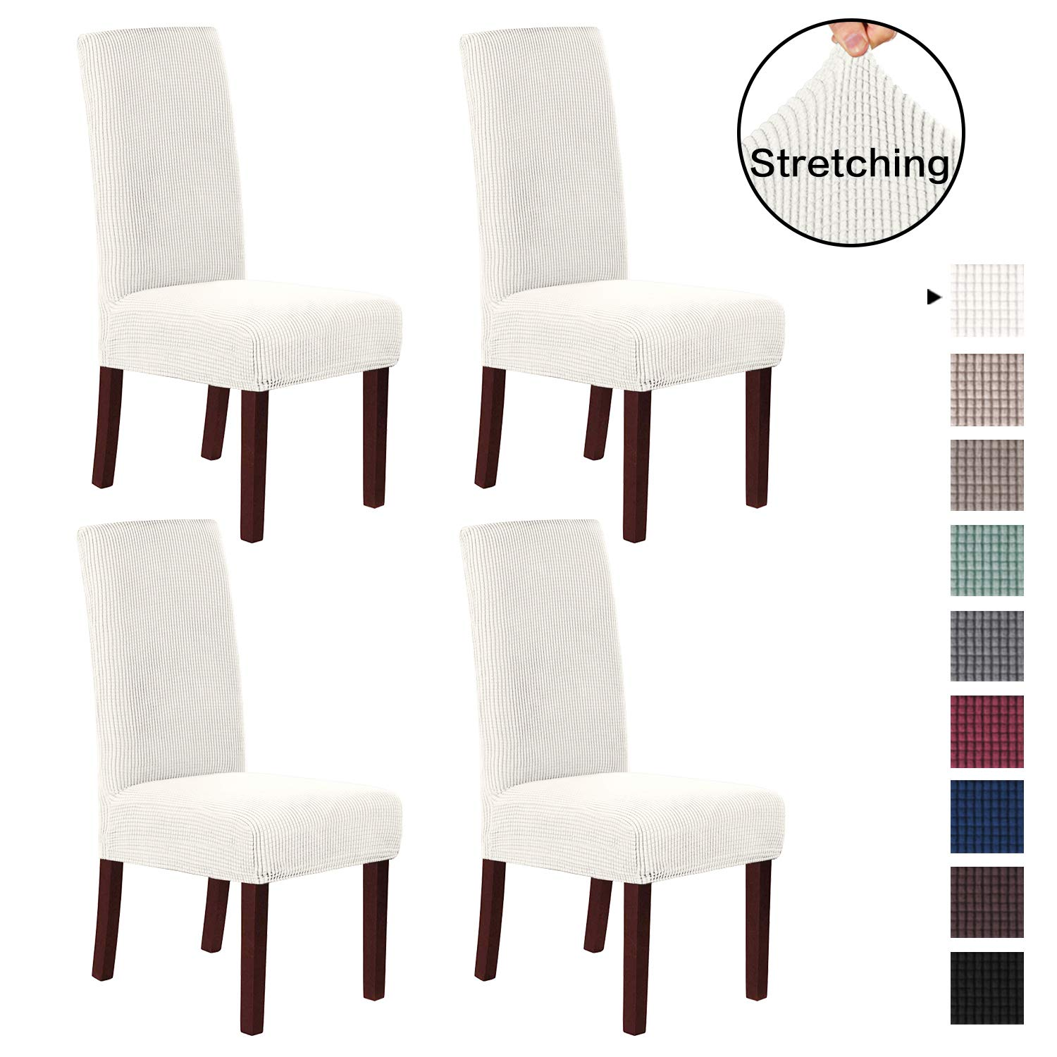 H.VERSAILTEX Dining Chair Covers High Back (Set of 4) Stretch Dining Room Chair Slipcovers Sets, Stretch Chair Furniture Protector Covers Removable Washable with Elastic Bottom, Ivory White