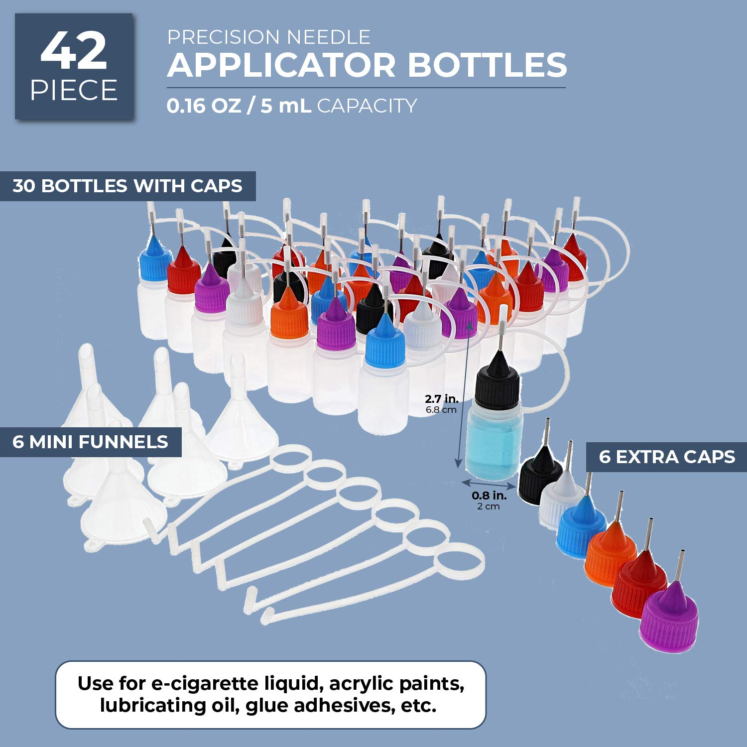 Bright Creations 42 Piece Kit Precision Needle Tip Clear Applicator Bottles