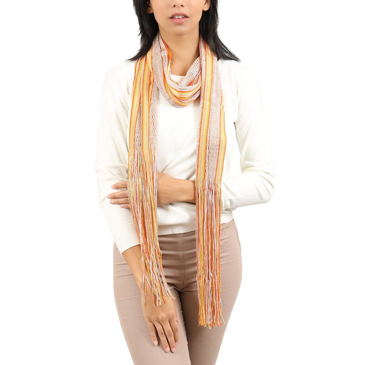 Missoni Gold/Orange Striped Scarf for Womens by Missoni