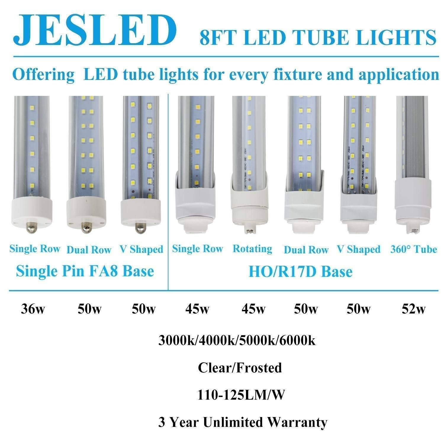 JESLED R17D/HO 8FT LED Bulb - Rotate V shaped, 5000K Daylight 50W, 6750LM, 110W Equivalent F96T12/DW/HO, Clear Cover, T8/T10/T12 Replacement, Dual-Ended Powered, Ballast Bypass, Pack of 12 by JESLED (Image #8)