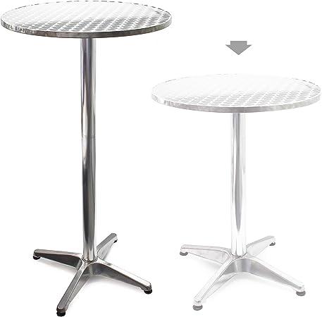 Wiltec Table Haute De Bar Aluminium Bistro Reglage En Hauteur 70