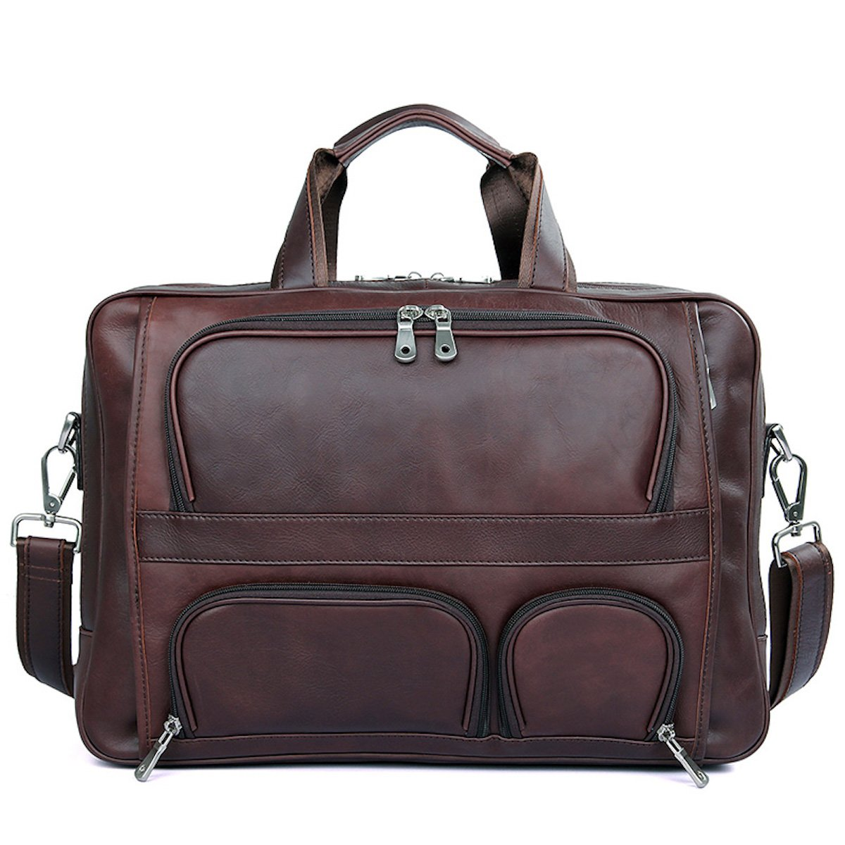 Men's Briefcase Laptop Bag Mens Business Bag 48h Expandable Travel Brief Leather Brown by Clean Vintage
