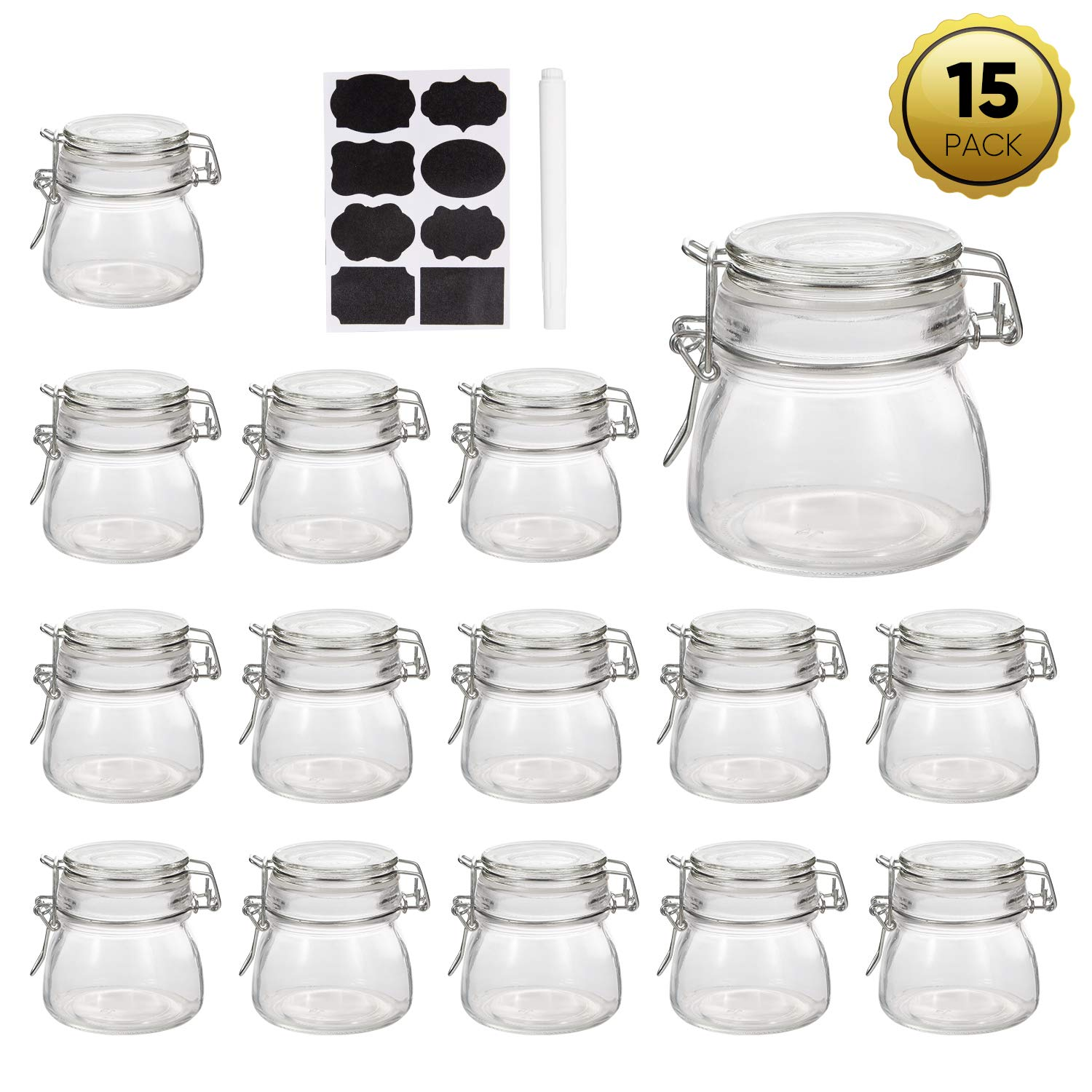 Mini Mason Jars,Accguan 5 OZ Glass Jars with Rubber Gasket and Hinged Lid,Small Canning JarsIdeal for storage,coffee,beans,sugar,snacks,candy,coookies,dry food,Set of 15