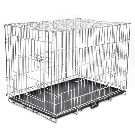XINGLIEU - Jaula Plegable de Metal para Perro, 2 Puertas robustas ...