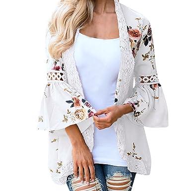 Chaqueta de Mujeres❤️EUZeo❤️Mujeres Floral Flor Poliéster Mantón Kimono Blusa Escudo Cardigan Tops Las Mujeres gasas Chal Flojo Estampado Kimono ...