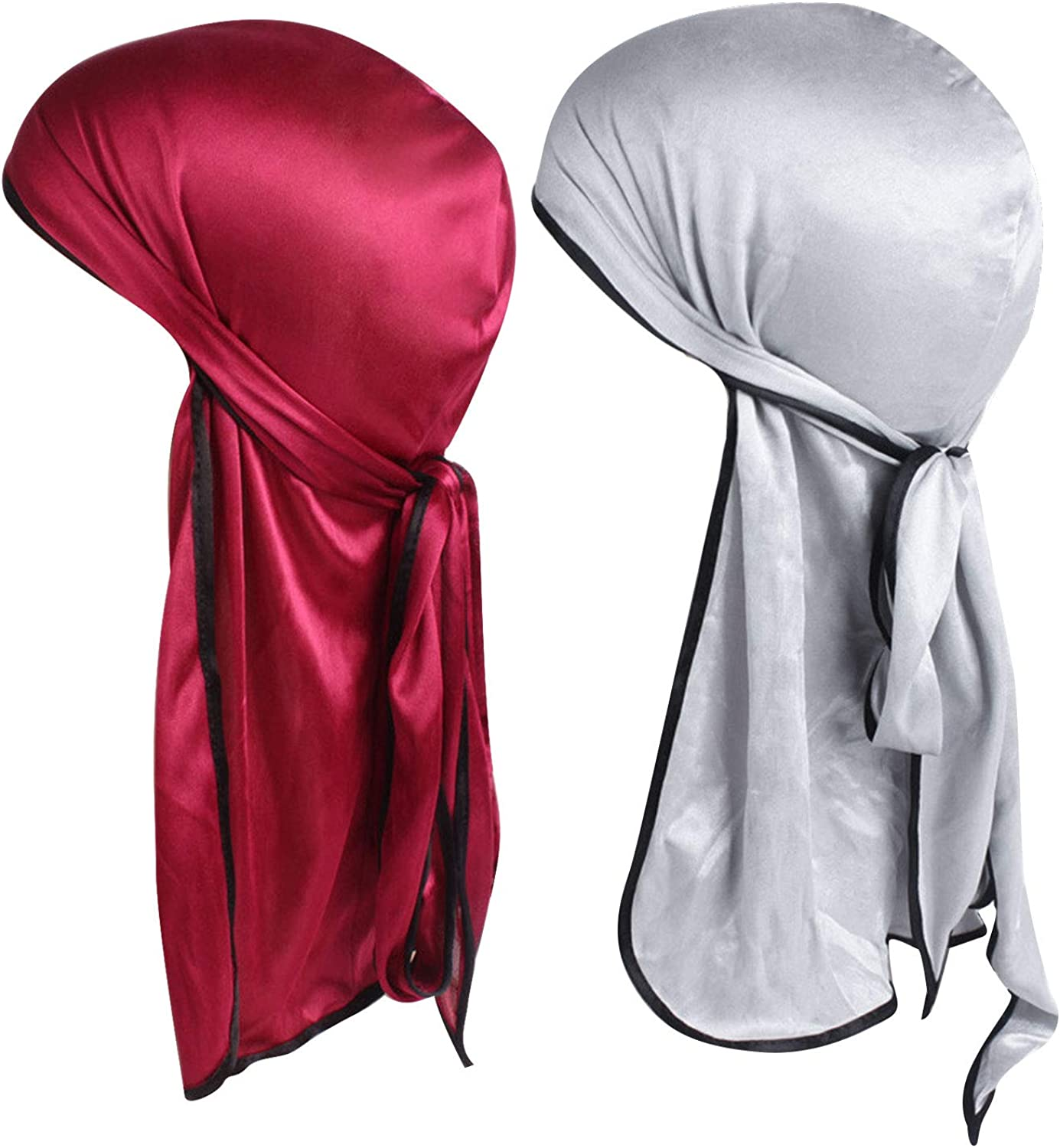 AURANSO 2 Pcs Silky Durag Men Soft Silk Durags 360 Waves Headwraps Unisex Cap Bandana Turban Hat with Long Tails and Wide Straps for Kids Women