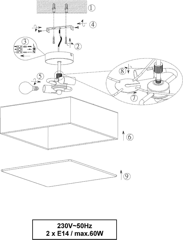 lightling modern Stehleuchte in nickel matt, Stoffschirm weiß, 1 x E27 max. 60W, ø 35 cm, Höhe: 160 cm Deckenleuchte Quadratisch (30 X 30 Cm) - Grau
