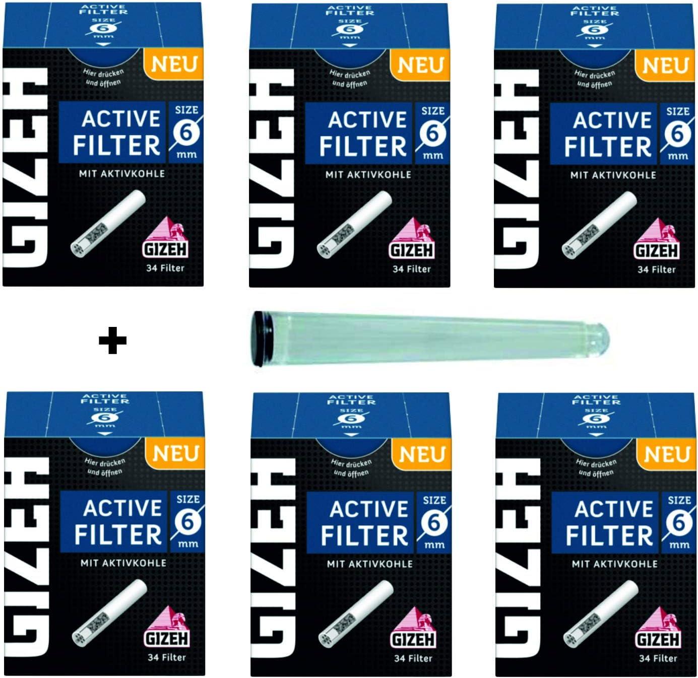 Gizeh Active Tips - Filtros de carbón Activo con Tapas de cerámica (6 x 34 Filtro), Color Negro