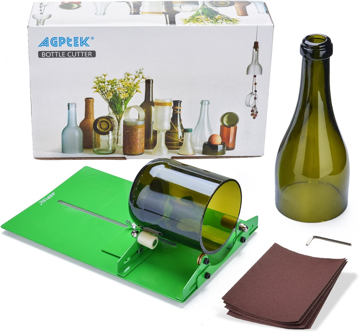 AGPTEK Cortador de Botellas de Vidrio Redondo, Herramienta para Cortar Botellas de Vidrieras, Bottle Cutter para Botellas de Cerveza - Carillones de Viento, Jarrones, Lámparas de Botellas