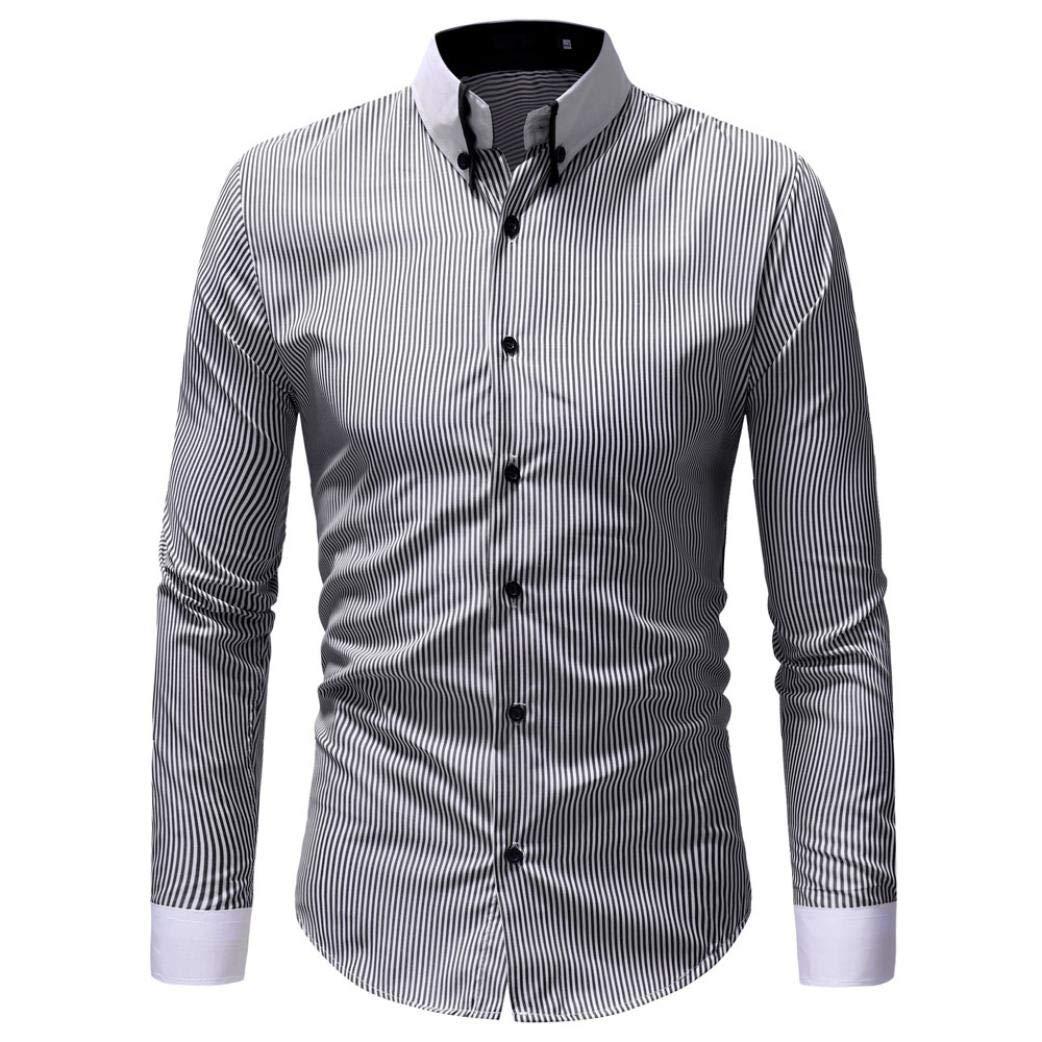 Camisa Oxford De Hombre, ZARLLE Camisa Casual/Formal para Hombre, Blusa Superior De Manga Larga con Estampado De Rayas Casual De OtoñO Invierno De Hombres: ...