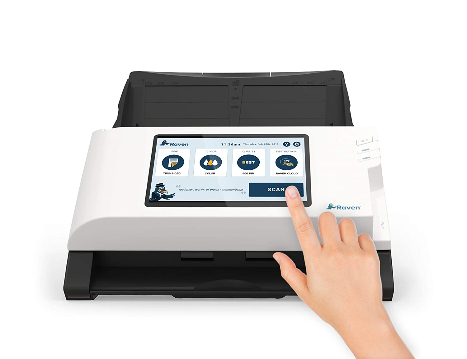 Raven Scanner Original Color Duplex Wireless Document Scanner, Scan Direct  to Cloud, Automatic Document Feeder (ADF) and LCD Touchscreen, Wi-Fi and