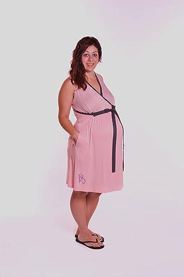 Amazon.com : BG Birthing Gown, Blush/BrownTrim : Maternity Apparel ...