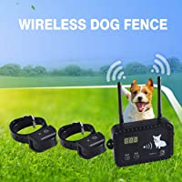 Wireless Electric Dog Fence Pet Containment System, Safe Effective Vibrate/Shock Dog Fence, Adjustable Range Up to 900 Feet & Display Distance, Rechargeable Waterproof Collar Receiver (Wireless 2 Dog Fence)