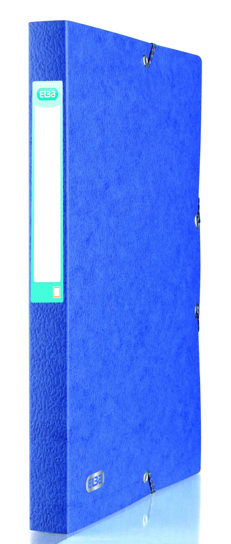 Elba Eurofolio Filing Box Pressboard 25mm Capacity Elasticated Closure A4 Blue Ref A45000031 [Pack 10]