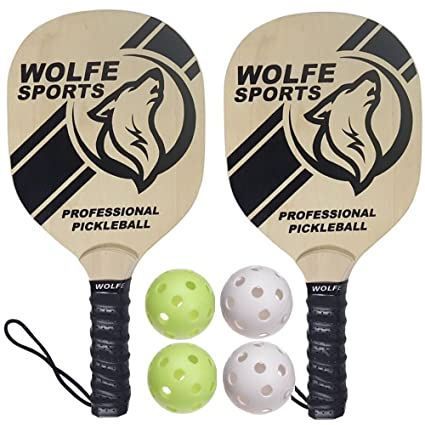 Amazon.com: WOLFE Pickleball de madera Paddle Set: Sports ...