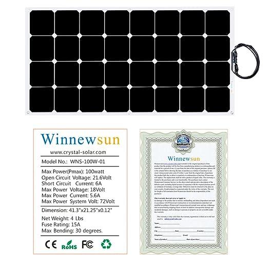 Winnewsun Flexible Solar Panel,SunPower Solar Panel 100w 18V  12V,Lightweight Flexible Solar Power Panels for RV Boat Truck Car Van Tent