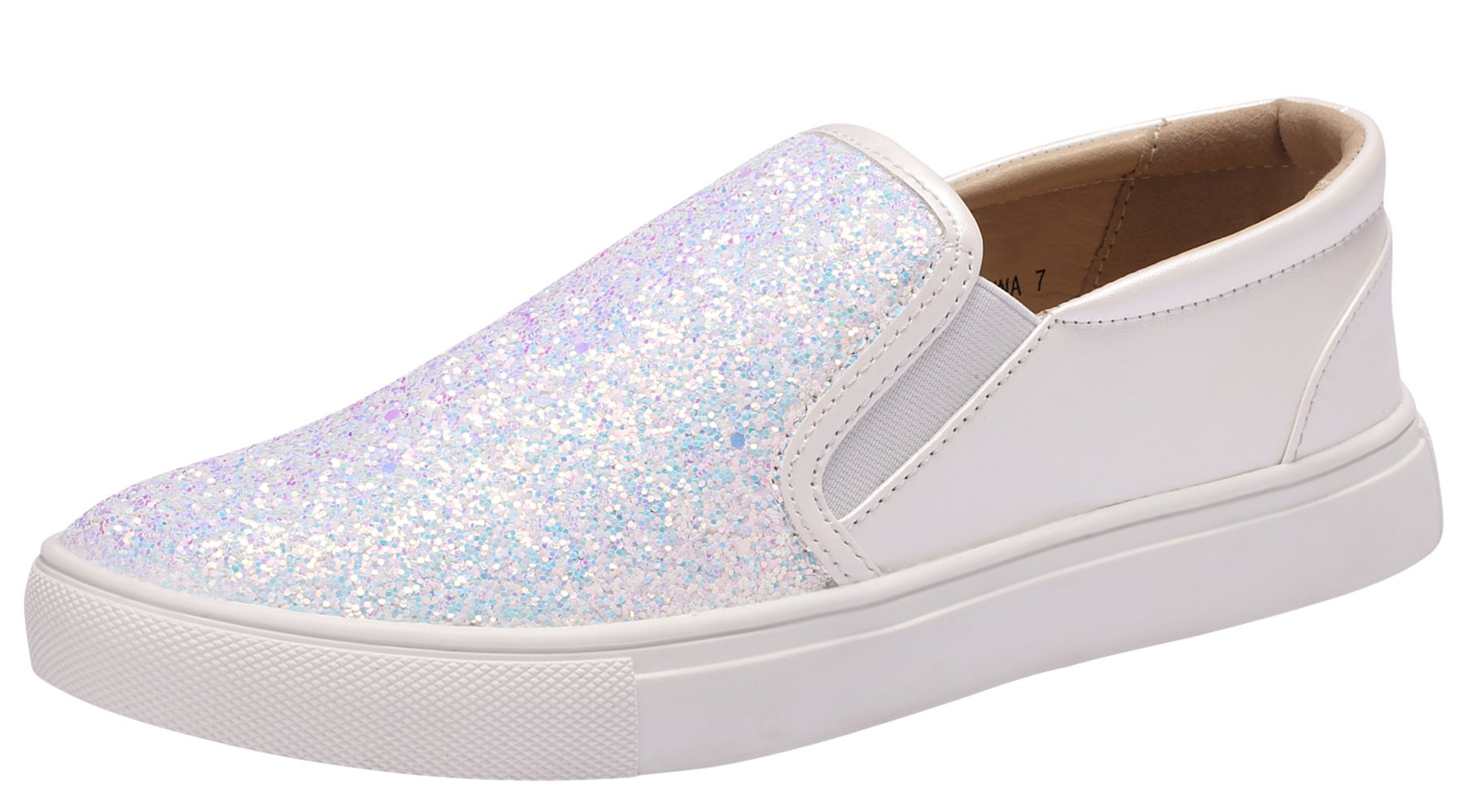 Sofree Women's Fashion Slip On Glitter Comfortable Sneakers Flat Shoes (11, White)
