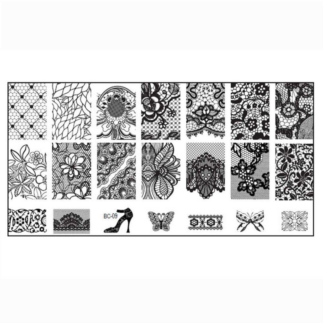 SODIAL(R) Women Nail DIY Nail Print Image Plate Stamped Stamp Art Template BC05 #