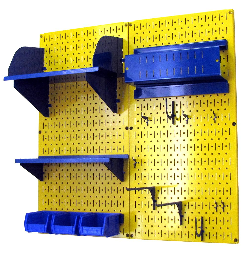 Wall Control 30-CC-200 YBU Hobby Craft Pegboard Organizer Storage Kit with Yellow Pegboard and Blue Accessories