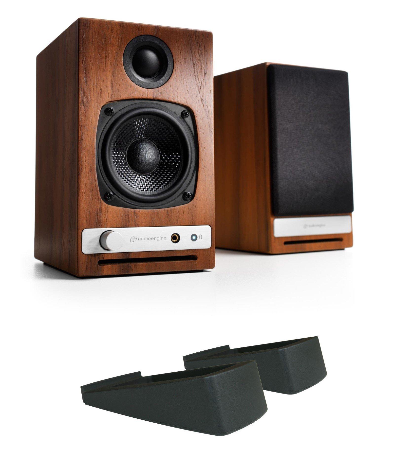 Audioengine HD3 Powered Bookshelf Speakers (Pair), Walnut with DS1 Desktop Stand (Pair)
