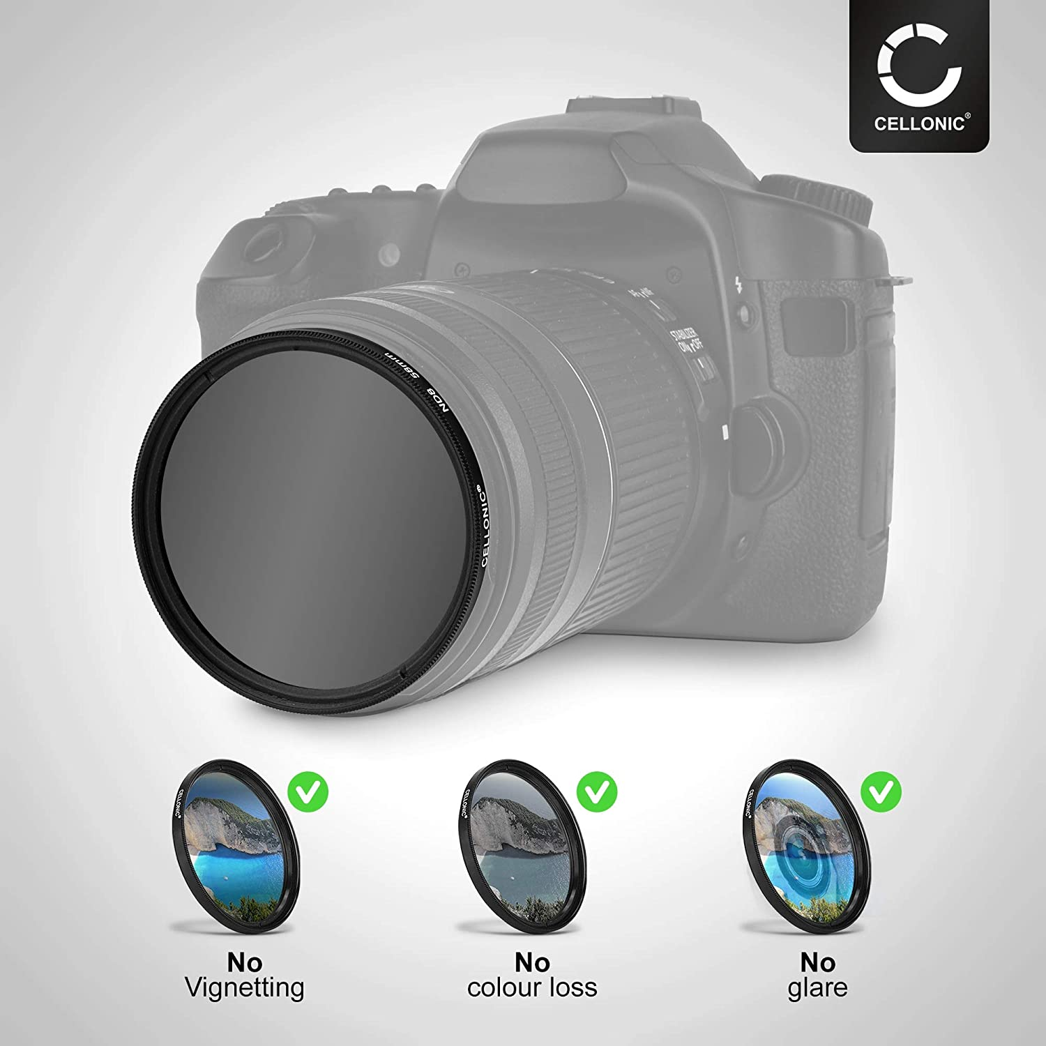 CELLONIC Neutral-density Filter ND8 compatible with Tokina 80-400mm 5-5 AT-X 72mm Long Exposure Filter