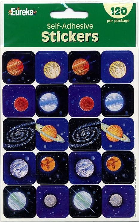 Amazon.com: Eureka Planetas pegatinas, 120-piece: Office ...