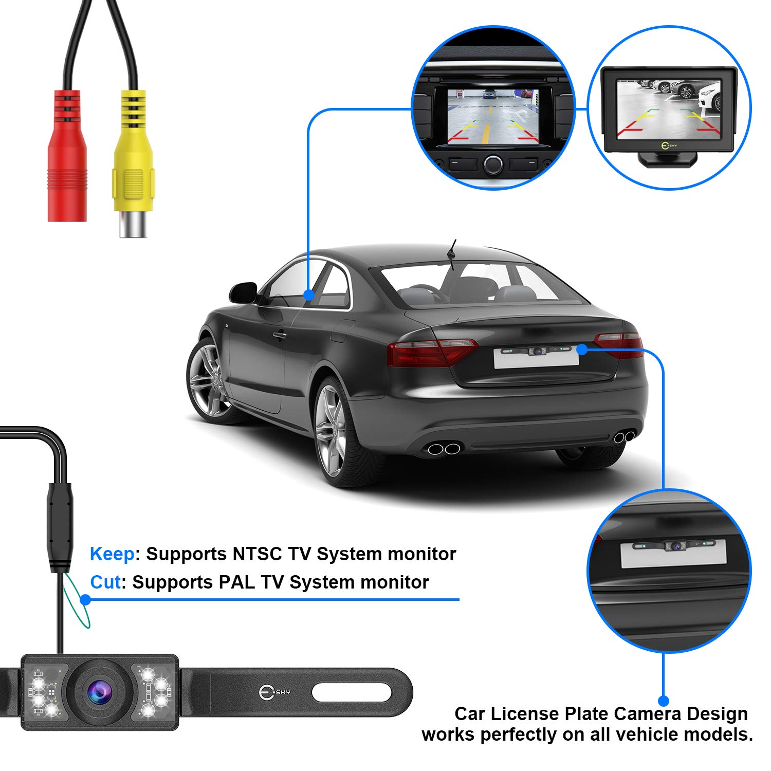 Esky Upgraded Version Car Rear View Reversing Camera Automotive with 170/° Wide View Angle 7 LED Lights Night Vision Waterproof HD Color Universal Car Backing Camera License Plate Backup Camera