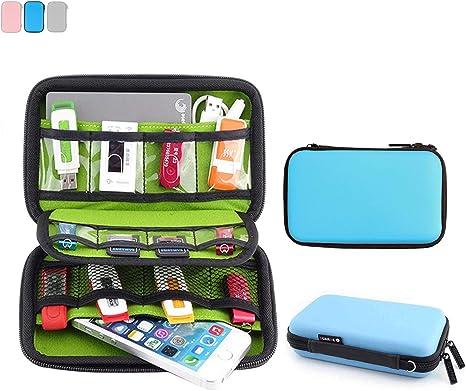 allespoir Impermeable Funda de Protección para Disco Duro de 2.5, Funda rígida de almacenaje para Disco, Llave USB, Cable USB, PSP Azul Azul: Amazon.es: Informática