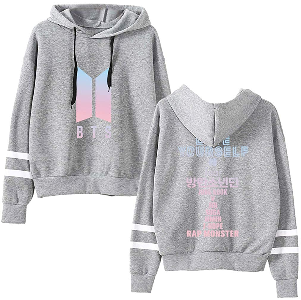 FLYCHEN Girls Active Sweatshirt Love Yourself 结 Answer Jimin V Long Sleeve BTS Hoodies