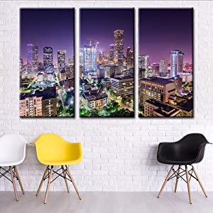 TUMOVO Large Pictures Houston Skyline Paintings Texas Wall Art Cityscape Pictures USA Modern Artwork Canvas Home Decor for Living Room Bedroom Framed Stretched Ready to Hang (40'' x 20'' x 3 Panels)