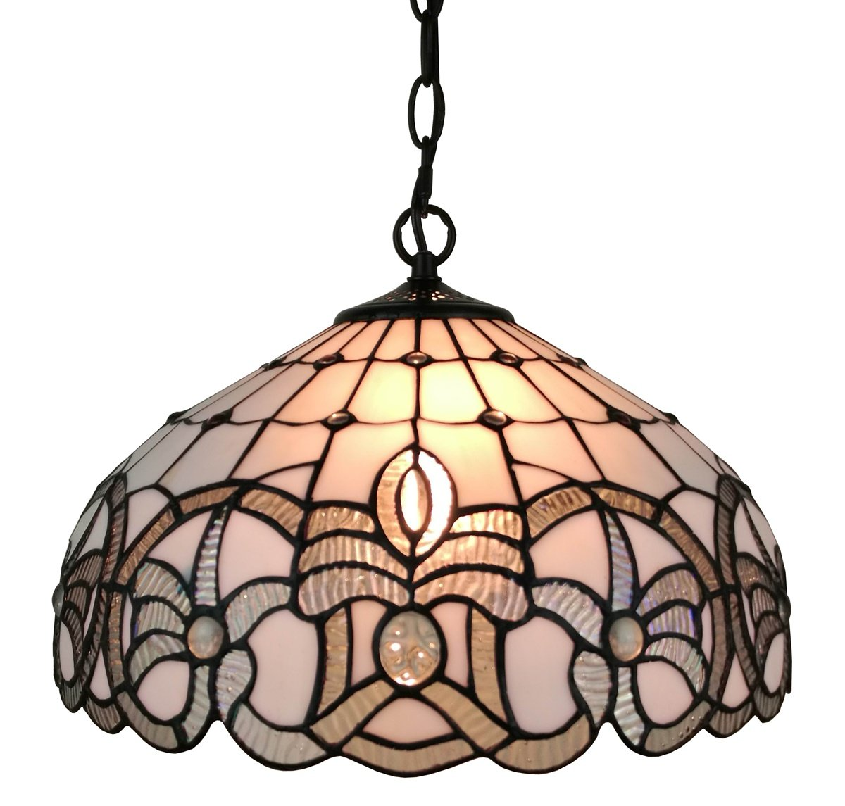 Amora Lighting AM294HL16 16 Inches Wide Tiffany Style White Hanging Lamp, 16'',