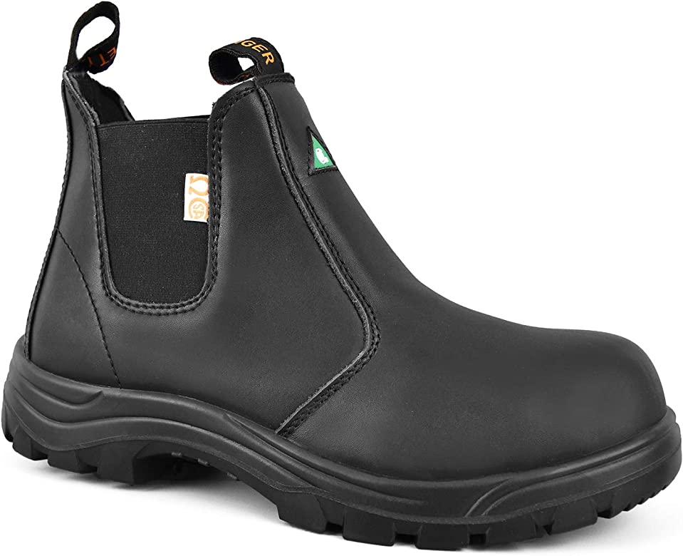 Safety Men's Leather Steel Toe Boots