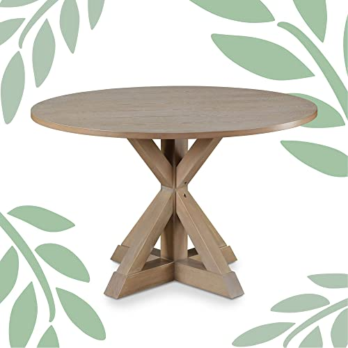 Finch Alfred Round Solid Wood Rustic Dining Table