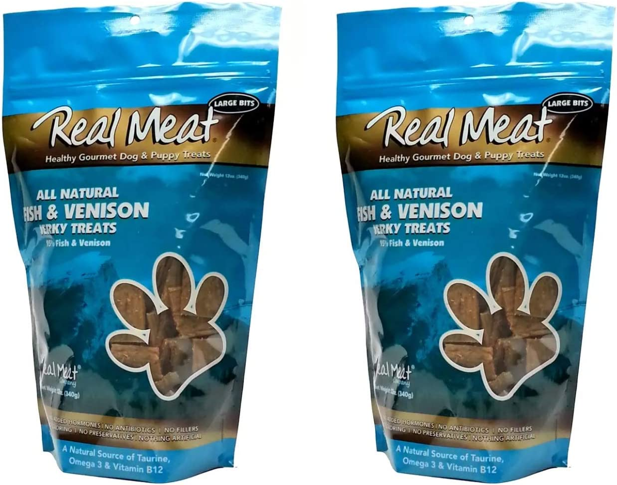 The Real Meat Company 828007 Dog Jerky Fish Venison Treats 2 Pack , 12 oz