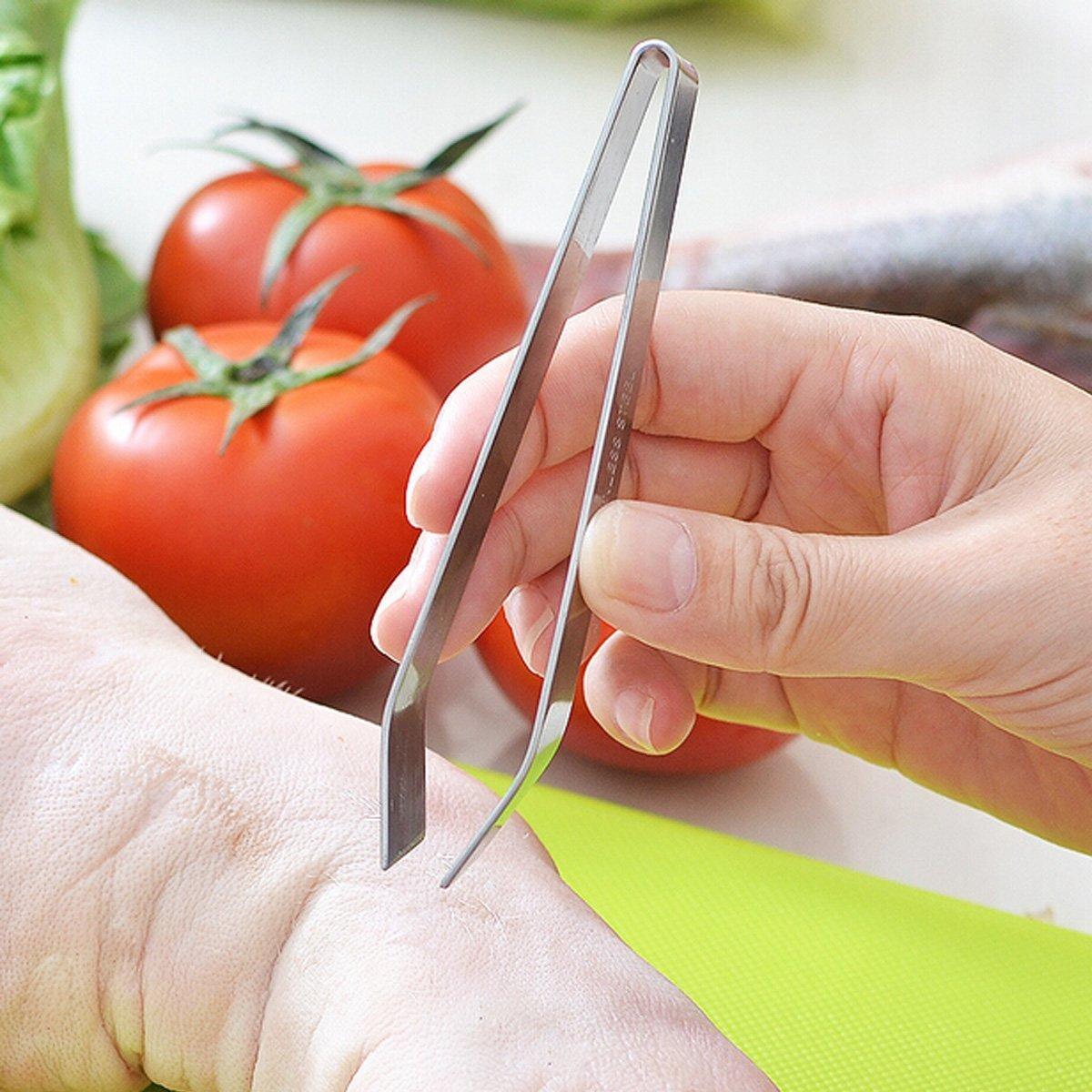 Uctop Store 2/pezzi di acciaio inossidabile Fish Bone Remover con precisione e comoda impugnatura One /è bordo smussato e un altro piatto multifunzione Home Kitchen Tool