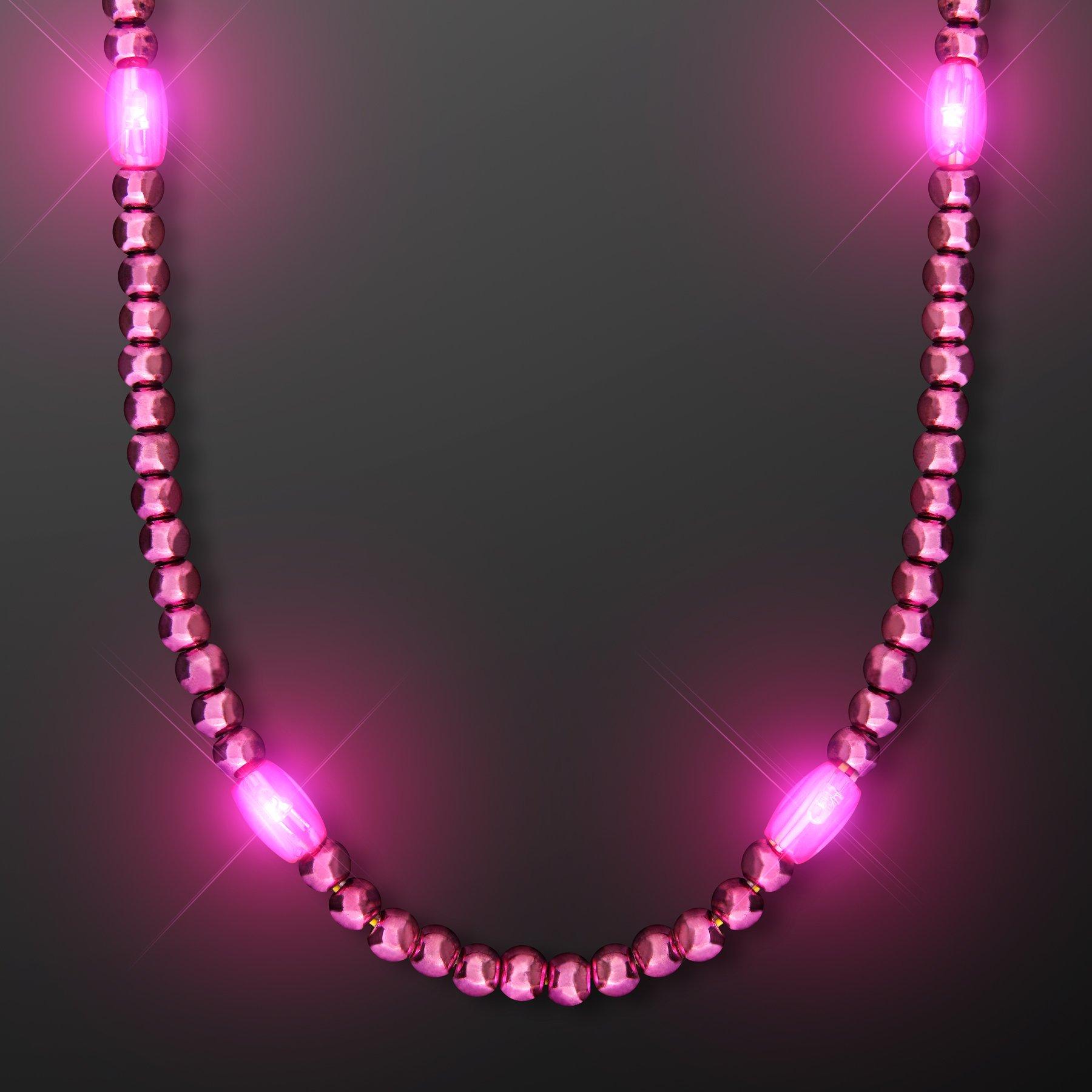 FlashingBlinkyLights Pink Light Up LED Mardi Gras Bead Necklaces (Set of 12) by FlashingBlinkyLights (Image #1)