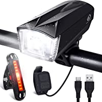 OMERIL Unisex-Youth Set [Remote Switch], Rechargeable Bicycle 300LM Front, 120dB Bike Horn and 100LM Tail, IP65 Waterproof Dimmable Cycle Lights for Road & Mountain-Easy to Fit, Black