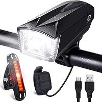 OMERIL Lumière Vélo Rechargeable USB, Lampe Vélo LED Puissante Imperméable IP65 Lumière Arrière 100LM et Lumière Avant 300LM avec Sonnette 120dB Cyclysme VTT, VTC, Bicyclette Eclairage vélo