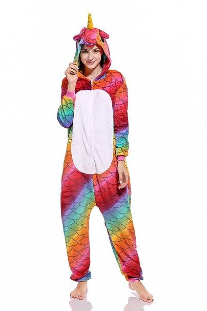 Kenmont Adulto Mujer Pijama Felpa Cosplay Ropa de Dormir Animal Disfraz Unicornio Panda Tiburón (H