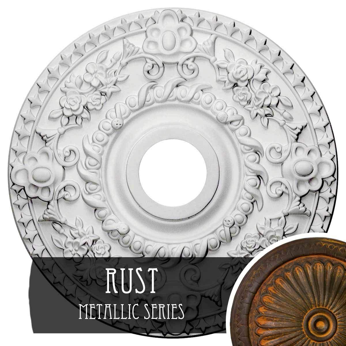 Ekena Millwork CM18RORUS Rose Ceiling Medallion, Rust