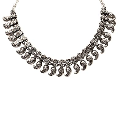 dc0fe963ad4 Buy PANASH Antique Silver Elegant Choker Necklace for Women and Girls Online  at Low Prices in India | Amazon Jewellery Store - Amazon.in