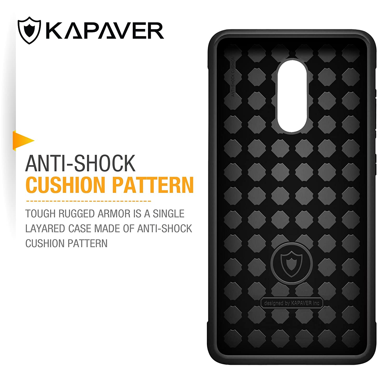e0c416cb370 Kapaver Back Cover Rugged Solid Black Shock Proof Slim  Amazon.in   Electronics