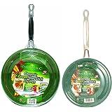 "Orgreenic Frying Pan Set: 10"" and 8"" Green Frying Pans"