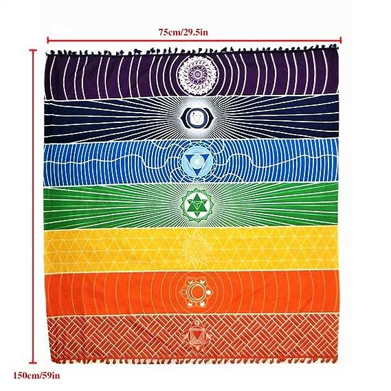 enipate pared Hanging india multicolor tapiz Mandala Bohemia manta  poliéster cuadrado Chakra manta para esterilla de yoga toalla de baño  colgante de pared ... 60c72665a6ab