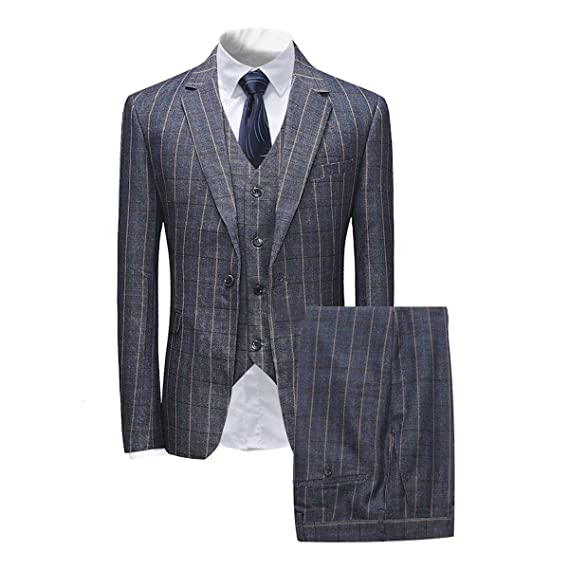 Mens Formal 3 Buttons Single-Breasted Waistcoat Plaid Jacket Suit Vest Slim Fit