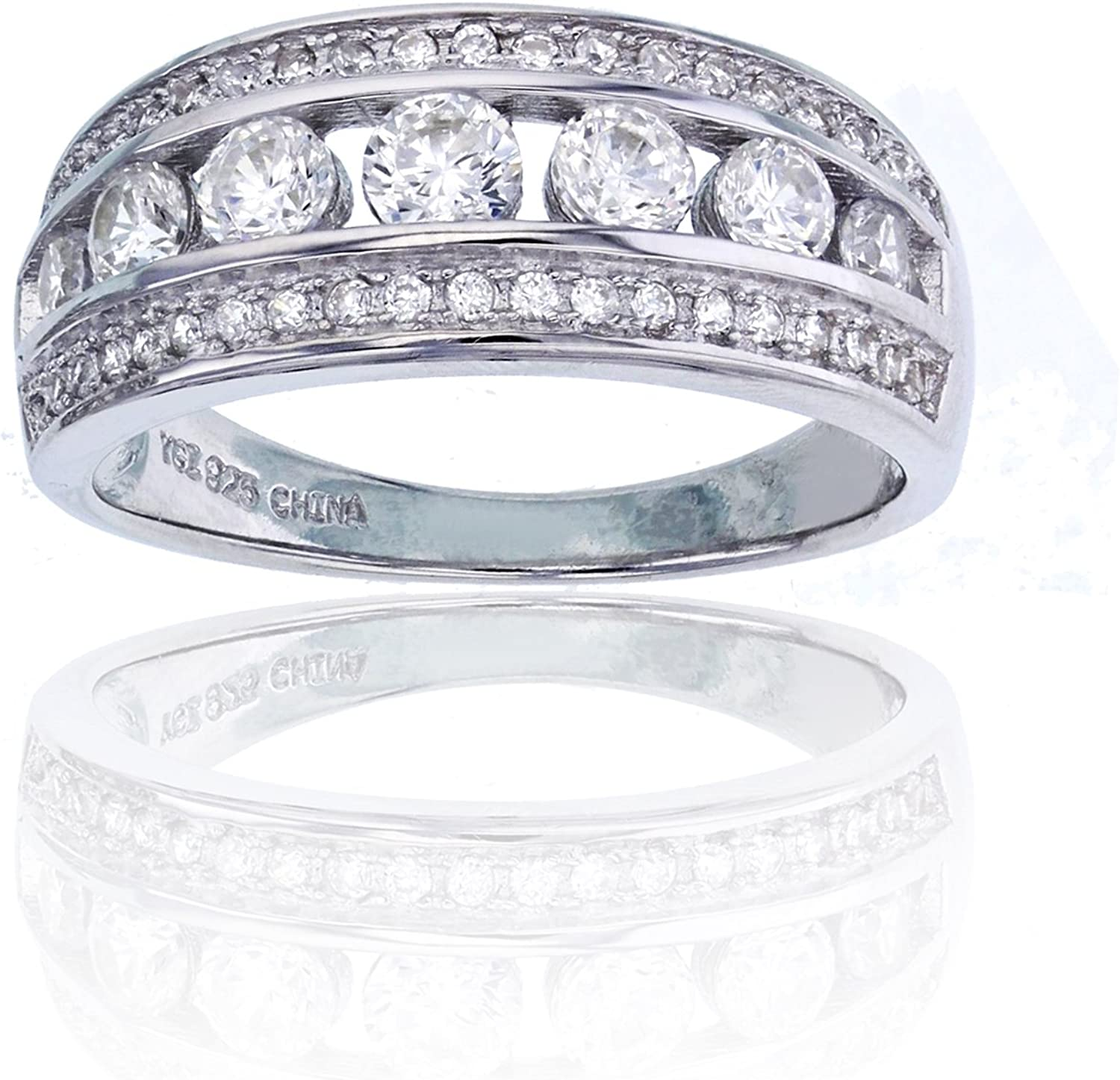 Sterling Silver Rhodium Anniversary Band Ring