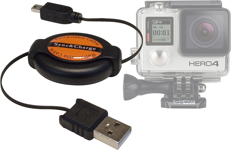 DURAGADGET Cable Retráctil De Sincronización para Cámara GoPro Hero 4/3+ / 3/2 / 1 (Black, Silver and White Edition) - Conexión MiniUSB - ¡Muy ...