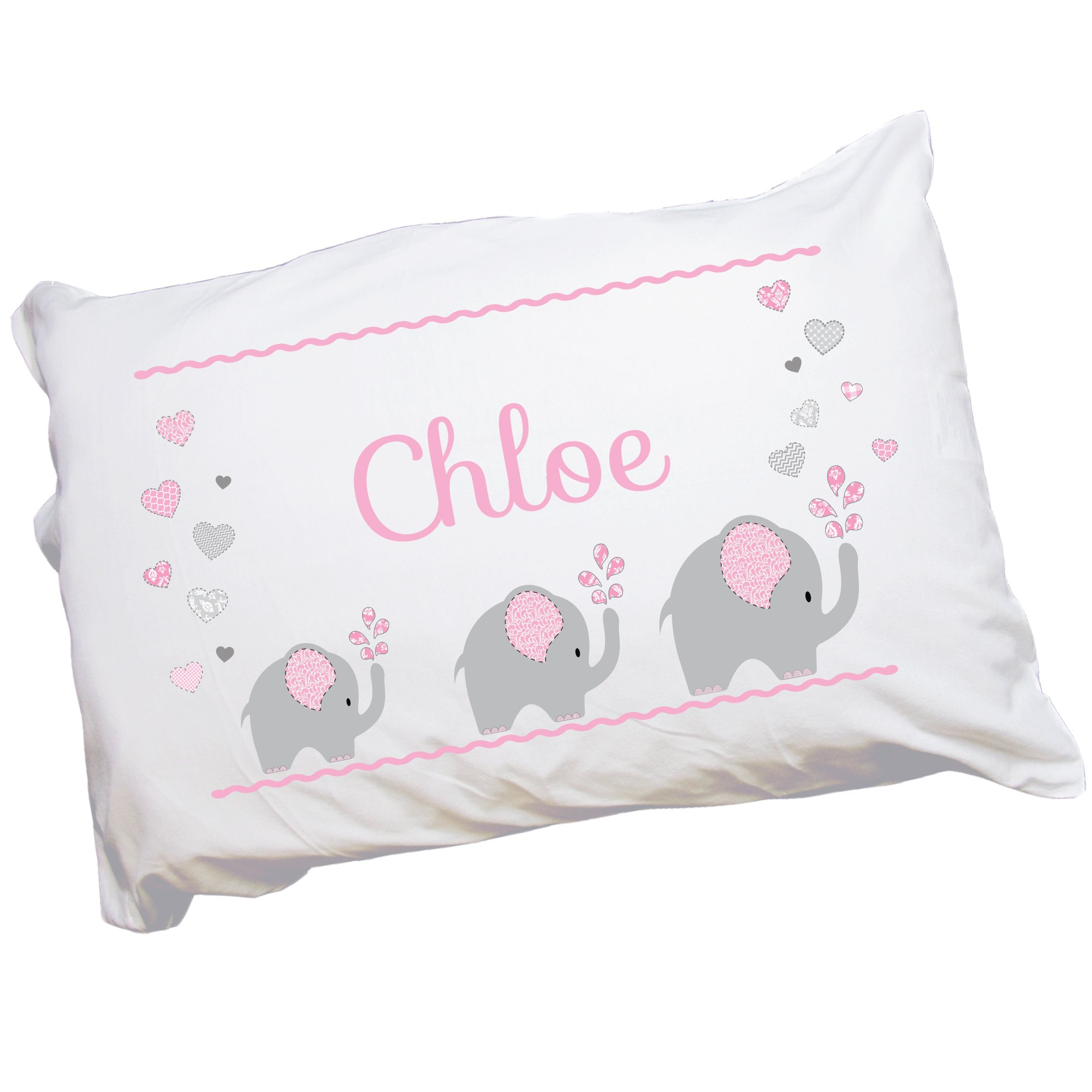 Child's Personalized Pink Gray Elephant Pillowcase