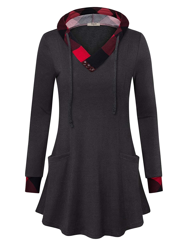 Timeson Women's Pullover Hooded Sweatshirt Long Sleeve Tunic Sweater Pockets